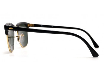 Lunettes de soleil Ray-Ban Clubmaster RB3016 W0365 Black/Gold
