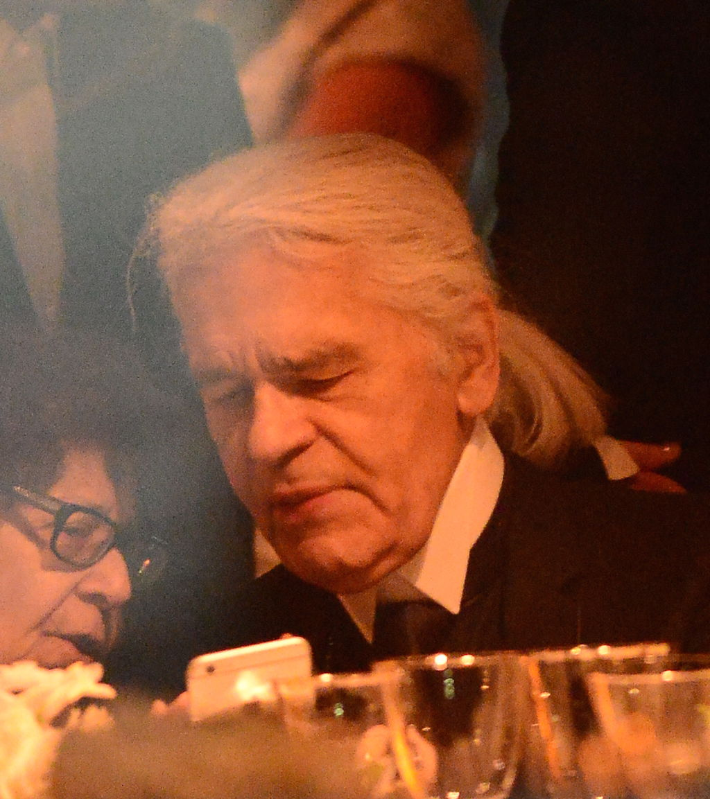 Karl Lagerfeld at the opera without his glasses