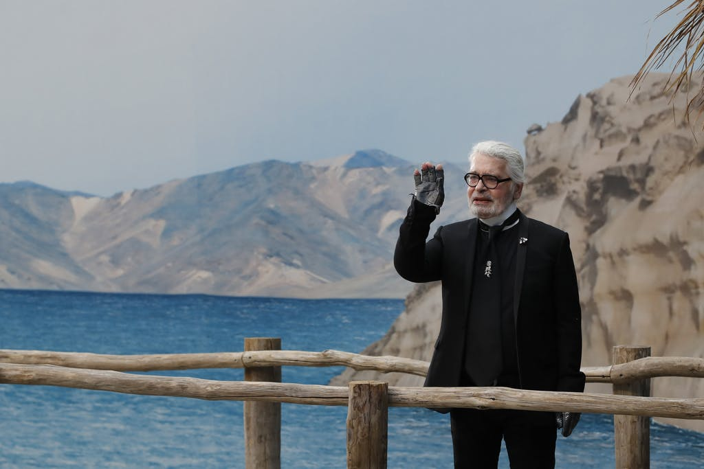 Karl Lagerfeld without glasses